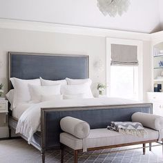 a vintage inspired bed in navy with a large upholstered headboard Contemporary Bedroom, Modern Room, Modern Contemporary, Bedroom Furniture, Bedroom Decor, Bedroom Interiors, Bedroom Ideas, Bedroom Pictures, Bedroom Bed