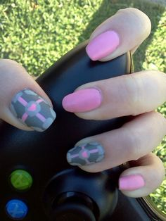 Companion Cube Nails - (Source: Reddit - GloriaGopher)