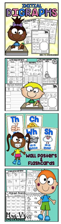 Help students recognize, hear, write, and read initial digraphs in words. The digraphs included are /sh/ /ch/ /th/ /wh/. Perfect for first grade phonics or kindergarten phonics lessons. Activities, worksheets, posters, flashcards and more!