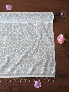 Royal Mansour ~  Moroccan White Lattice Trellis Print Valance ~ wood block printed cotton voile ~ Saffron & Marigold