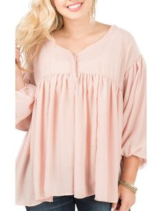 Easel Solid Blush with Pleating and Puffly Long Sleeves Peasant Fashion Top | Cavender's