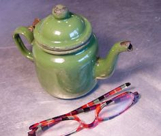 TEA POT Green ENAMEL Vintage Teapot by ShantyIrishStockyard