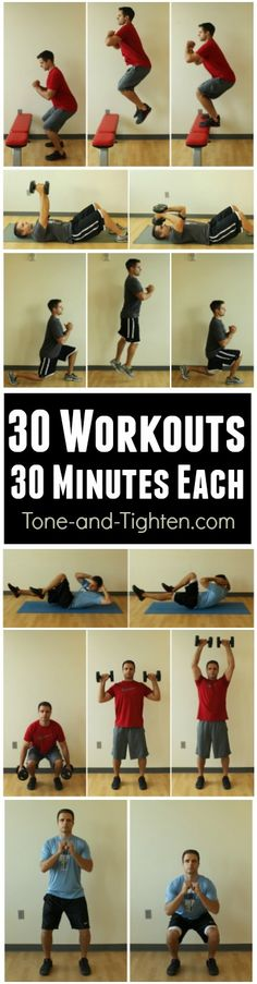 No time to workout? 30 awesome home workouts that take 30 minutes or less! | Tone-and-Tighten.com