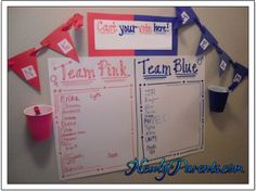 Gender Reveal Party Sign In Sheet, games & food ideas