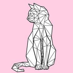 Geometric Cat by Freddie O'Brion #CatDrawing