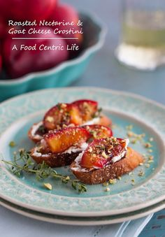 Roasted nectarine and goat cheese crostini with chopped pistachios drizzled with Balsamic makes a fantastic appetizer.  The combination of flavors is fantastic.  Roasting nectarines brings out the sweetness and concentrates their lusciousness. Tips on making crisp crostini as well, with an olive oil-butter-garlic combo that is super useful.