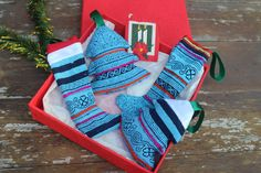 Hmong Christmas Ornaments In Bright Blue by SiameseDreamDesign