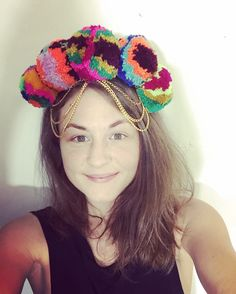 POM POM HEADDRESS Festival multicoloured colourful gypsy boho hippy ethnic large pom pom crown headband hairband. Burning man coachella glastonbury by PicaPicaFeathers on Etsy https://www.etsy.com/uk/listing/277637428/festival-multicoloured-colourful-gypsy