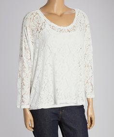 Another great find on #zulily! White Lace Crewneck Top - Plus by Dantelle #zulilyfinds