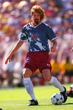 Alexi Lalas rocks the infamous denim stars jersey at the 1994 World Cup.