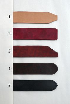 different belt ends -- zissou's handmade leather belts