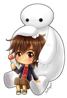Hiro y Baymax Arte Disney, Disney Fan Art, Cute Disney Wallpaper, Cute Cartoon Wallpapers, Cute Disney Drawings, Cute Drawings, Big Heroes, Baymax, Totoro