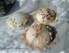 Pretty pincushions - love the pretty lace and lovely ribbonwork flowers! :)