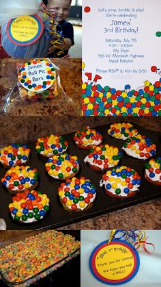 """Thinking I may do """"Have a Ball"""" for Izzy's birthday... love some of these ideas! sixlets on cupcakes!"""