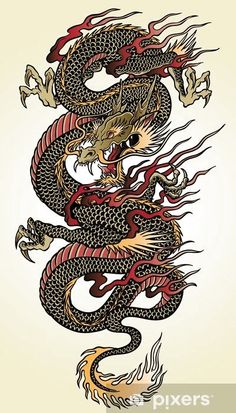 Detailed Asian Dragon Tattoo Illustration Wall Mural ✓ Easy Installation ✓ 365 Days to Return ✓ Browse other patterns from this collection! Dragon Tattoo For Women, Japanese Dragon Tattoos, Dragon Tattoo Designs, Tattoo Women, Japanese Tattoo Designs, Japanese Tattoo Art, Japanese Sleeve Tattoos, Japanese Art, Dragon Sleeve Tattoos