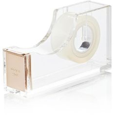 kate spade new york Acrylic Tape Dispenser ($24) ❤ liked on Polyvore featuring home, home decor, office accessories, fillers, office, accessories, stationary, gold en kate spade