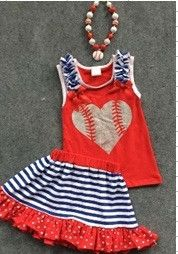 Preorder-Baseball Heart skirt Set