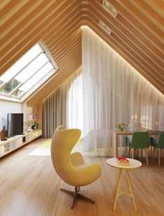 Modern home design Attic Bedroom Designs, Attic Design, Attic Rooms, Living Room Designs, Commercial Interior Design, Home Interior Design, Interior Architecture, A Frame House, Modern House Design