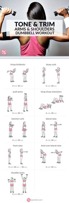 Arm & Shoulders Dumbbell Workout. Each exercises for 30 sec or complete 15-20 repetitions. Rest 30-60 sec, repeat circuit 4 times. Total of 20 mins