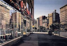 A painting from 79th Street and Broadway  looking South by Richard Estes in 1974. The block had gotten a subway station by then, which brought shoppers more easily to the stores.