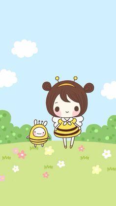 This is definitely me, my name means bee in Hebrew! Kawaii Doodles, Kawaii Chibi, Kawaii Art, Beautiful Wallpapers For Iphone, Cute Wallpapers, Kawaii Drawings, Cute Drawings, Kawaii Wallpaper, Iphone Wallpaper