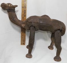 """Antique Folk Art Hand Carved Wooden Camel Statue Wood 19"""" Primative Articulated"""