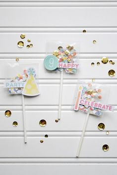 Fun Cupcake Celebration Picks using the tool and from designer Aly Dosdall Cute Crafts, Diy And Crafts, Sand Candles, Diy Paper, Paper Crafts, Pocket Letters, Shaker Cards, Scrapbook Embellishments, Craft Fairs