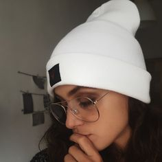 Winter Beanie hat white fashion girl look
