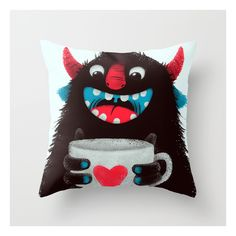 Demon With A Cup Of Coffee (contrast) Throw Pillow ($20) ❤ liked on Polyvore featuring home, home decor, throw pillows, lime green throw pillows, lime green accent pillows, lime green home decor and animal throw pillows