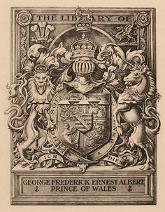 Heraldic bookplate of George Frederick Ernest Albert, Prince of Wales (later King George V)