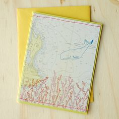 whale and coral greeting card - blank inside - upcycled map. $4.00, via Etsy.