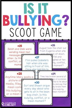 Bullying Scoot Game Activity: Bullying, Conflict Or Mean Moment? Bullying Scoot Game Activity: Bullying, Conflict Or Mean Moment?,Social Skills Use this engaging activity in your bullying prevention lessons to help students learn the difference. Examples Of Bullying, Anti Bullying Lessons, Anti Bullying Activities, Social Skills Activities, Counseling Activities, Learning Games, School Counsellor, Character Education, Teaching Character