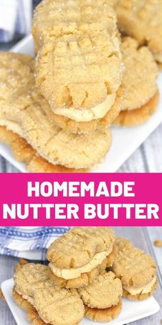"""Soft peanut butter cookies filled with luscious peanut butter cream — these Homemade Nutter Butter cookies might just be better than the """"real"""" thing! Delicious Cookie Recipes, Yummy Cookies, Brownie Recipes, Chocolate Recipes, Sweet Recipes, Yummy Food, Homemade Desserts, Cookie Desserts, Fun Desserts"""