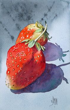 Strawberries by Joel Simon watercolor painting - Obst Watercolor Fruit, Watercolor And Ink, Watercolour Painting, Watercolor Flowers, Painting & Drawing, Watercolors, L'art Du Fruit, Fruit Art, Fruit Cakes