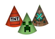 Mine craft Inspired Birthday Party Hats. Instand by Party Kit, Party Ideas, Birthday Party Hats, Golden Birthday, Party Favor Tags, Minecraft Party, Water Crafts, Cupcake Toppers, Fiesta Party