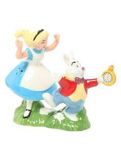 Disney Alice In Wonderland Alice And White Rabbit Salt  Pepper Shakers | Hot Topic