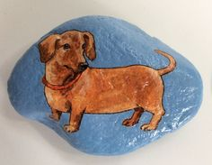 Dachshund painted rock paperweight by AlisonsArt on Etsy