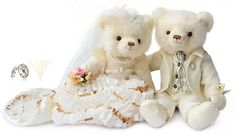 Wedding Couple Teddy Bear Colors of Bright Chinese Red and Pure Whiteat EVToys.com
