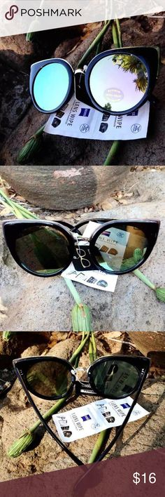 "New! Black Cat Eye Sunglasses w/ Mirrored Lenses Brand new! Never been used/worn!  High quality  Reward yourself with these super trendy and incredibly cute summer shades  +Style: Cat Eye +Black  +Over-sized  +Mirrored lenses -tinted lime green   +Top of frames outlined with gold  +Lens length: 2.5"" x 2.5"" +Frame Length: 5.76"" +Arm width: .6""   ++FREE LENS WIPE!  BUNDLE WITH OTHER LISTINGS TO RECEIVE A BUNDLED DISCOUNT!  [[Make sure to check out my page for other styles, colors, brands, and…"