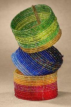 Ombre Cuff - Green Beaded Cuff Bracelet, Blue Beaded Cuff Bracelet | Soft Surroundings