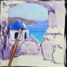 Splendor of Santorini – Mikki Senkarik Greek Paintings, Cool Paintings, Landscape Paintings, Watercolor Paintings, Church Building, Love Painting, Muted Colors, Santorini, Painting Inspiration