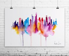 watercolour skyline