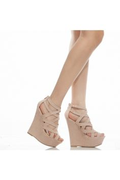 Nude Faux Suede Strappy Open Toe Platform Wedges