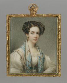 Portrait of a Lady  Henry Inman  (American, Utica, New York 1801–1846 New York)  Artist: Thomas Seir Cummings (American (born England), Bath 1804–1894 Hackensack, New Jersey) Date: ca. 1825 Medium: Watercolor on ivory Dimensions: 3 3/8 x 2 3/8 in. (8.6 x 6 cm) Classification: Paintings Credit Line: Dale T. Johnson Fund, 1996 Accession Number: 1996.562