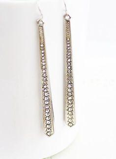 Silver Crystal Stick Dangle Earrings #SheInside