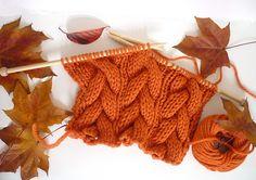 Knitting Patterns Galore - Halloween Pumpkin Orange Cable Scarf