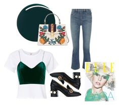 """""""flared jeans outfit"""" by nabiladea on Polyvore featuring RE/DONE, Topshop, Elizabeth and James, RGB and Gucci"""