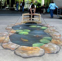 Chalk street art koi pond