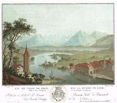 Lac et Ville de Thun, avec la rivière de l'Ara, prise à vue d'oiseau de la terrasse du Chateau - Aquatinte - gravure imprimée en couleurs par Charles-Melchior DESCOURTIS (1753-1820) d'après Friedrich ROSENBERG (1758-1833) - MAS Estampes Anciennes - MAS Antique Prints