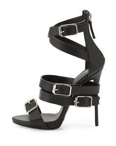 Giuseppe Zanotti Wrap-Around Buckle Strap Sandal, Nero - Bergdorf Goodman